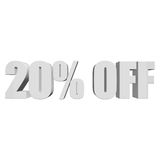 20 percent off 3d letters on white background Stock Photo