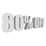 80 percent off 3d letters on white background. 80 percent off letters on white background. 3d render isolated Stock Photo