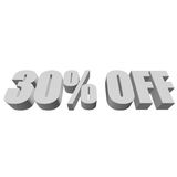30 percent off 3d letters on white background. 30 percent off letters on white background. 3d render isolated Royalty Free Stock Photography