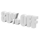80 percent off 3d letters on white background. 80 percent off letters on white background. 3d render isolated Stock Image