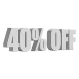 40 percent off 3d letters on white background Royalty Free Stock Image