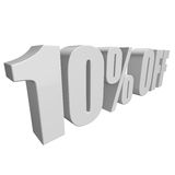 10 percent off 3d letters on white background. 10 percent off letters on white background. 3d render isolated Royalty Free Stock Image