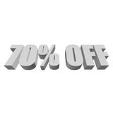 70 percent off 3d letters on white background. 70 percent off letters on white background. 3d render isolated Stock Photos