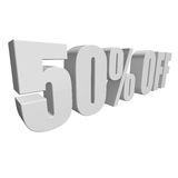 50 percent off 3d letters on white background. 50 percent off letters on white background. 3d render isolated Stock Images