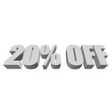 20 percent off 3d letters on white background. 20 percent off letters on white background. 3d render isolated royalty free illustration