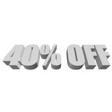 40 percent off 3d letters on white background. 40 percent off letters on white background. 3d render isolated Stock Photo