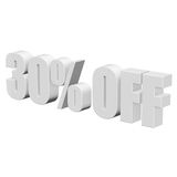 30 percent off 3d letters on white background. 30 percent off letters on white background. 3d render isolated Stock Photo