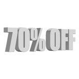 70 percent off 3d letters on white background Royalty Free Stock Image