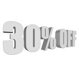 30 percent off 3d letters on white background. 30 percent off letters on white background. 3d render isolated Stock Photography