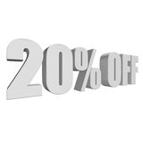 20 percent off 3d letters on white background. 20 percent off letters on white background. 3d render isolated stock illustration