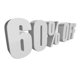60 percent off 3d letters on white background Stock Images