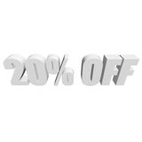 20 percent off 3d letters on white background Royalty Free Stock Photo