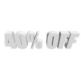 40 percent off 3d letters on white background Royalty Free Stock Images