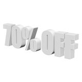 70 percent off 3d letters on white background Stock Photo