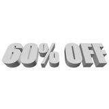60 percent off 3d letters on white background Royalty Free Stock Image