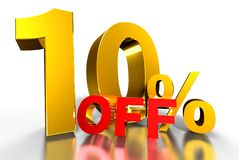 10 percent off 3d. 10 percent off 3d white background royalty free illustration