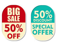 50 percent off discount, big sale and special offer, two ellipti. 50 percent off discount, big sale and special offer text banners, two elliptic flat design Stock Photography