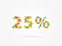 Percent off discount creative promotion concept. 25 percent discount colorful vector illustration on grey background. 25 percent off discount creative promotion Stock Image