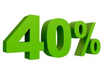 Percent off Discount %. 3d green text isolated on a white background 3d rendering. Percent off. Discount %. 3d green text on a white background 3d rendering royalty free illustration