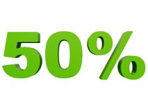 Percent off Discount %. 3d green text isolated on a white background 3d rendering. Percent off. Discount %. 3d green text on a white background 3d rendering stock illustration