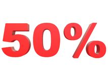 Percent off Discount %. 3d red text isolated on a white background 3d rendering. Percent off. Discount %. 3d red text on a white background 3d rendering royalty free illustration