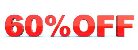 60 percent off discount. Glossy red text on white background wide banner 3D render vector illustration