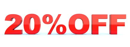 20 percent off discount. Glossy red text on white background wide banner 3D render stock illustration