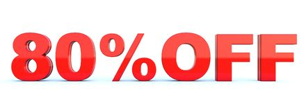 80 percent off discount. Glossy red text on white background wide banner 3D render vector illustration