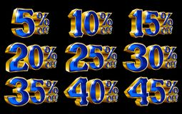 Percent off discount gold 3D illustrations. Percent off discount golden 3D illustrations on isolated black background Royalty Free Stock Image