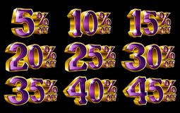 Percent off discount gold 3D illustrations. Percent off discount golden 3D illustrations on isolated black background Royalty Free Stock Photo