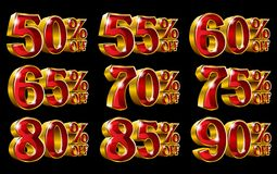 Percent off discount gold 3D illustrations. Percent off discount golden 3D illustrations on isolated black background Stock Photography