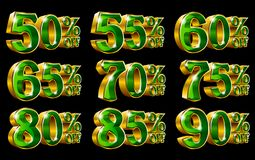 Percent off discount gold 3D illustrations. Percent off discount golden 3D illustrations on isolated black background Stock Images