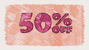 50 percent off discount marker on blackboard text cartoon drawn seamless loop animation - new quality retro vintage. Percent off discount marker on blackboard stock footage