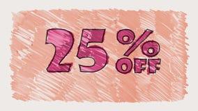 25 percent off discount marker on blackboard text cartoon drawn seamless loop animation - new quality retro vintage. Percent off discount marker on blackboard stock video footage
