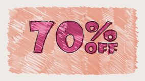70 percent off discount marker on blackboard text cartoon drawn seamless loop animation - new quality retro vintage. Percent off discount marker on blackboard stock video footage