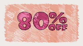 80 percent off discount marker on blackboard text cartoon drawn seamless loop animation - new quality retro vintage. Percent off discount marker on blackboard stock video