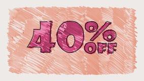 40 percent off discount marker on blackboard text cartoon drawn seamless loop animation - new quality retro vintage. Percent off discount marker on blackboard stock video footage