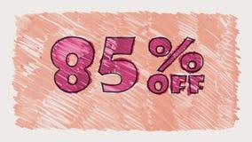 85 percent off discount marker on blackboard text cartoon drawn seamless loop animation - new quality retro vintage. Percent off discount marker on blackboard stock video footage