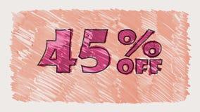 45 percent off discount marker on blackboard text cartoon drawn seamless loop animation - new quality retro vintage. Percent off discount marker on blackboard stock video footage