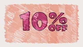 90 percent off discount marker on blackboard text cartoon drawn seamless loop animation - new quality retro vintage. Percent off discount marker on blackboard stock video