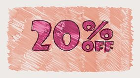 20 percent off discount marker on blackboard text cartoon drawn seamless loop animation - new quality retro vintage. Percent off discount marker on blackboard stock video