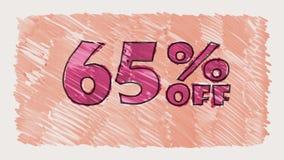 65 percent off discount marker on blackboard text cartoon drawn seamless loop animation - new quality retro vintage. Percent off discount marker on blackboard stock video footage