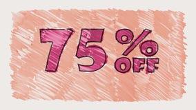 75 percent off discount marker on blackboard text cartoon drawn seamless loop animation - new quality retro vintage. Percent off discount marker on blackboard stock footage