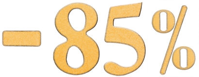 Percent off. Discount. Minus 85 eighty five percent, numerals is. Olated on white background Royalty Free Stock Images