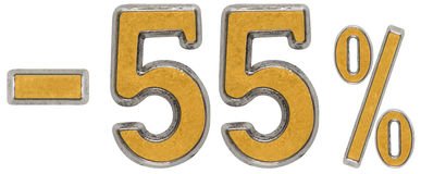 Percent off. Discount. Minus 55, fifty five,  percent. Metal num Stock Images