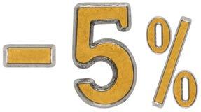 Percent off. Discount. Minus 5, five,  percent. Metal numeral, i Stock Image