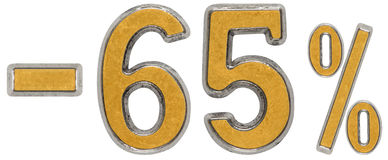 Percent off. Discount. Minus 65, sixty five,  percent. Metal num Stock Photography