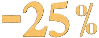 Percent off. Discount. Minus 25 twenty five percent, numerals is. Olated on white background Royalty Free Stock Images