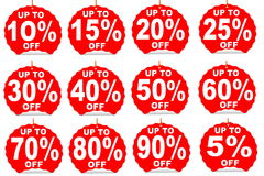 Percent off discount price tag Stock Photo