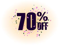 70 percent off discount promotion tag. Promo sale label. vector flares on white background. Vector illustration. 50 percent off discount promotion tag. Promo Stock Illustration